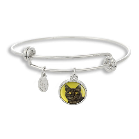 Meow! Keep your cat close to you with The Winky&Dutch Adjustable Band Bangle Bracelet featuring our signature feline with a green background.