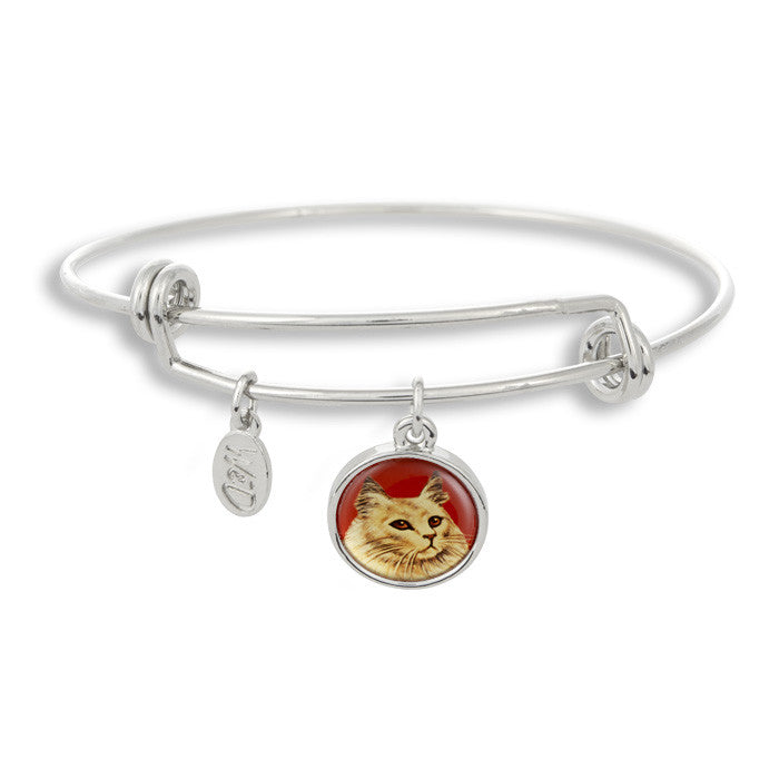 Meow! Keep your cat close to you with The Winky&Dutch Adjustable Band Bangle Bracelet featuring our signature feline with a red background.