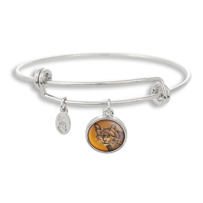 Meow! Keep your cat close to you with The Winky&Dutch Adjustable Band Bangle Bracelet featuring our signature feline with a orange background.