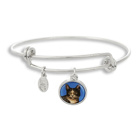 Meow! Keep your cat close to you with The Winky&Dutch Adjustable Band Bangle Bracelet featuring our signature feline with a blue background.