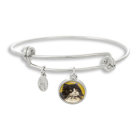 Meow! Keep your cat close to you with The Winky&Dutch Adjustable Band Bangle Bracelet featuring our signature feline with a yellow background.