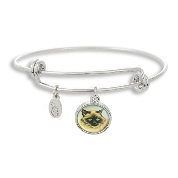 Meow! Keep your cat close to you with The Winky&Dutch Adjustable Band Bangle Bracelet featuring our signature feline with a light blue background.