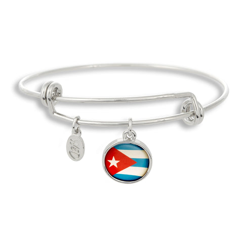Show your inner Cubano on the outside with The Winky&Dutch Adjustable Band Bangle Bracelet featuring the Cuba flag.