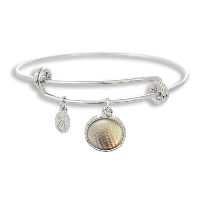 Fore! Mark a birdie down on your score card with The Winky&Dutch Adjustable Band Bangle Bracelet featuring the golf ball!
