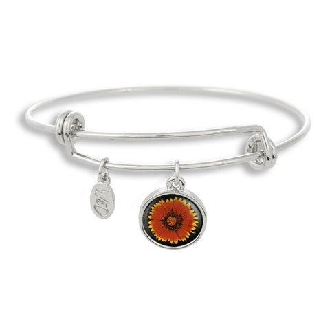 Our orange and yellow flower sits beautifully in The Winky&Dutch Adjustable Band Bangle Bracelet.