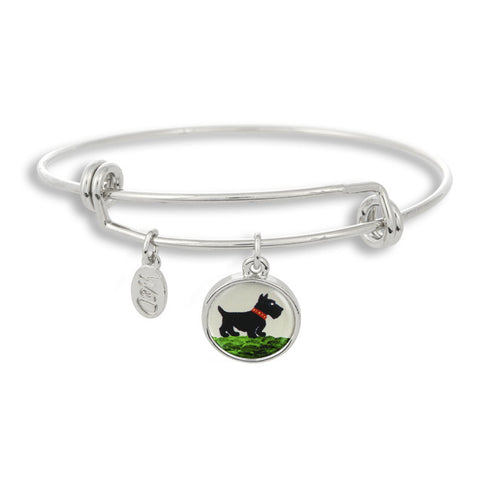 Woof! Keep your dog close to you with The Winky&Dutch Adjustable Band Bangle Bracelet featuring the painted scottie.