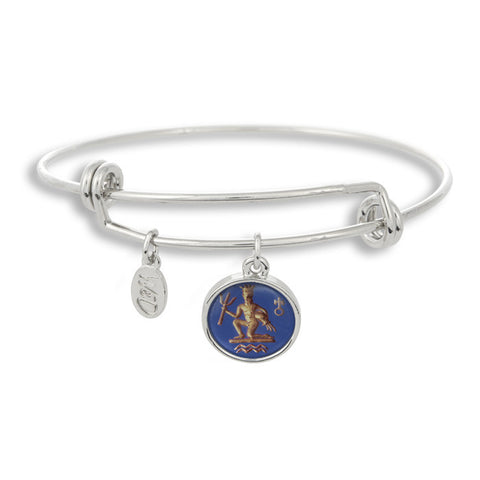 The Adjustable Band Bangle Bracelet featuring the ancient Aquarius astrology sign shows that your style is in the stars!