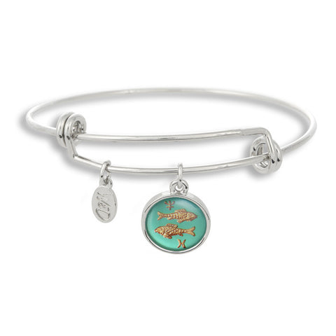 The Adjustable Band Bangle Bracelet featuring the ancient Picses astrology sign shows that your style is in the stars!