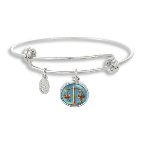 The Adjustable Band Bangle Bracelet featuring the ancient Libra astrology sign shows that your style is in the stars!
