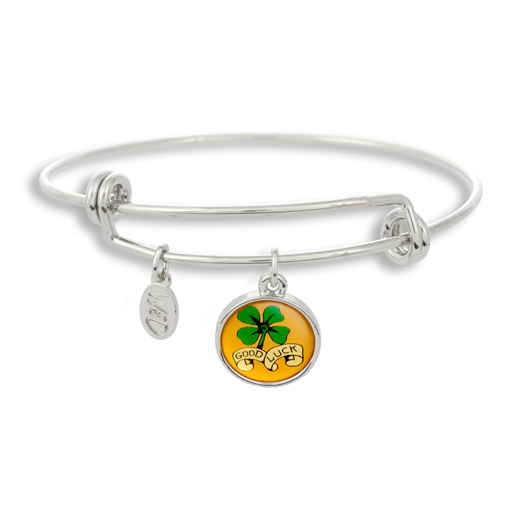 The Adjustable Band Bangle Bracelet featuring the Flash Tattoo Good Luck give you that inked in style!