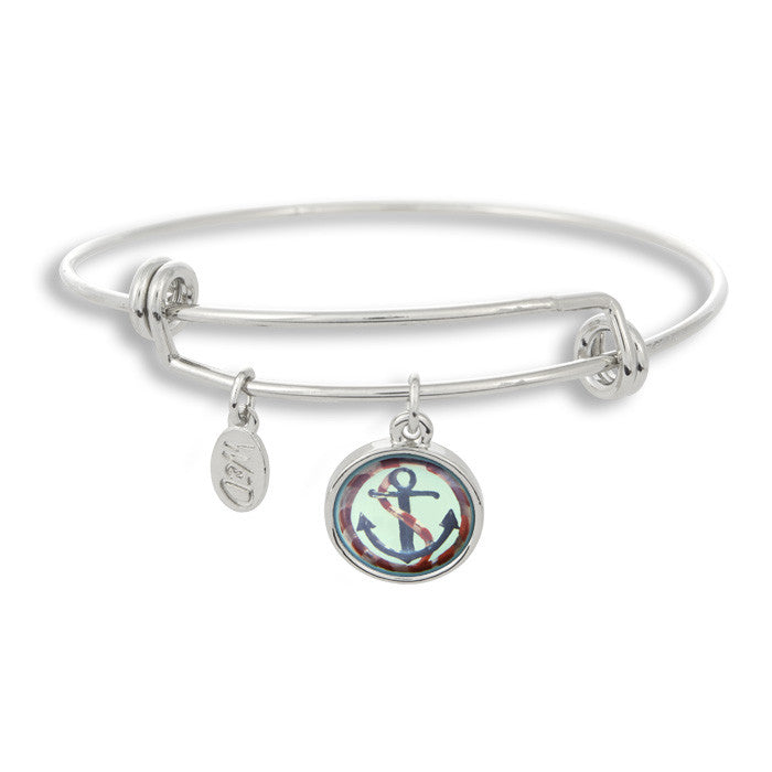 Ships a'hoy! Show that you are ready to sail the seven seas with The Adjustable Band Bangle Bracelet featuring our painted nautial anchor!