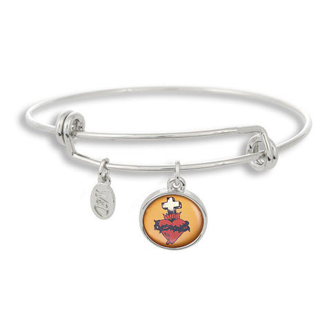 The Adjustable Band Bangle Bracelet featuring the Flash Tattoo Bleeding Heart Cross give you that inked in style!