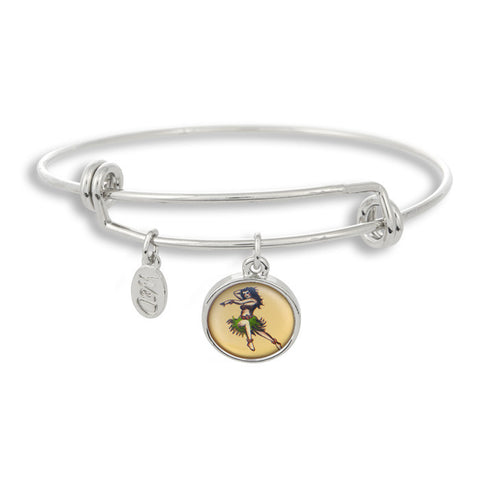 The Adjustable Band Bangle Bracelet featuring the Flash Tattoo Hula Dancer give you that inked in style!