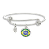 Brazilian Flag Adjustable Band Bangle Charm Bracelet - Handcrafted in USA