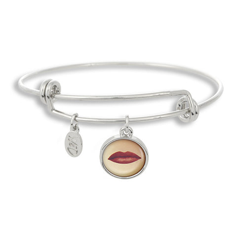 Pucker up! Our kisses are ready for you with The Adjustable Band Bangle Bracelet featuring our Lipstick Lips.