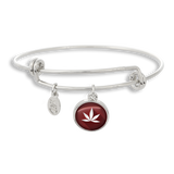 Cannabis Icon-O-Pop Collection Adjustable Bangle Bracelet (Marijuana Deep Red)