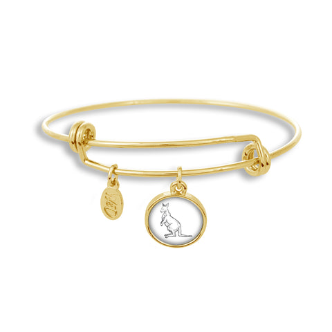 Adjustable Gold Band Bracelet Featuring Kangaroo Sketch