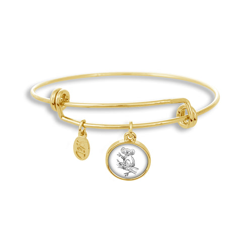 Adjustable Gold Band Bracelet Featuring Koala in Tree Sketch