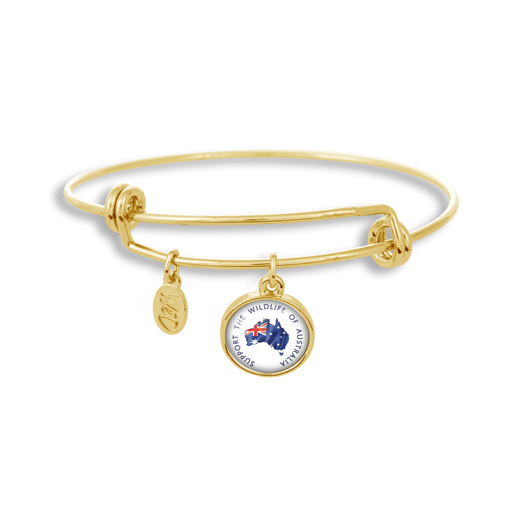 Adjustable Gold Band Bracelet Featuring Support the Wildlife of Australia (Flag)