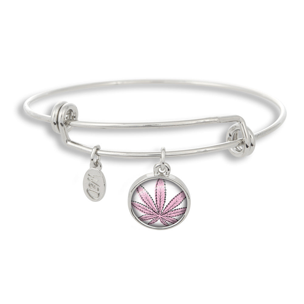 Cannabis Icon-O-Pop Collection Adjustable Bangle Bracelet (Line Illustrated Puff-Pass Pink)