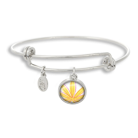 Cannabis Icon-O-Pop Collection Adjustable Bangle Bracelet (Line Illustrated Mellow Yellow)
