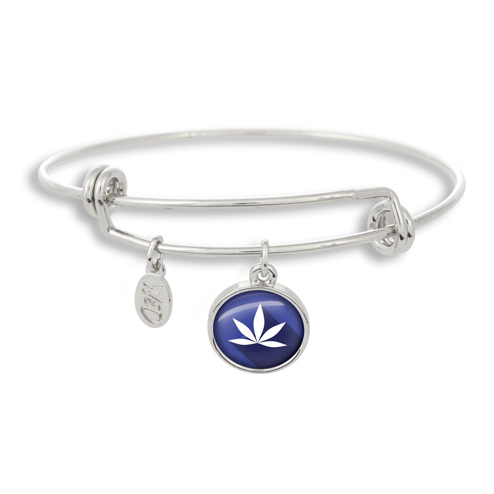 Cannabis Icon-O-Pop Collection Adjustable Bangle Bracelet (Purple Haze Marijuana)