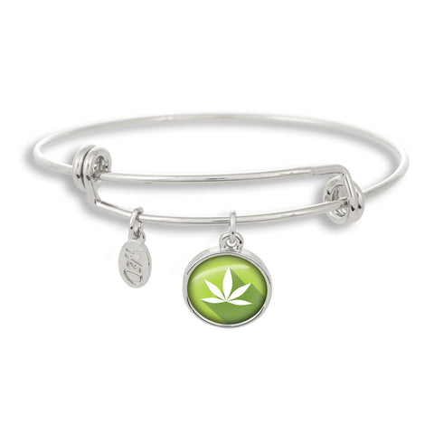 Cannabis Icon-O-Pop Collection Adjustable Bangle Bracelet (Bright Lime)