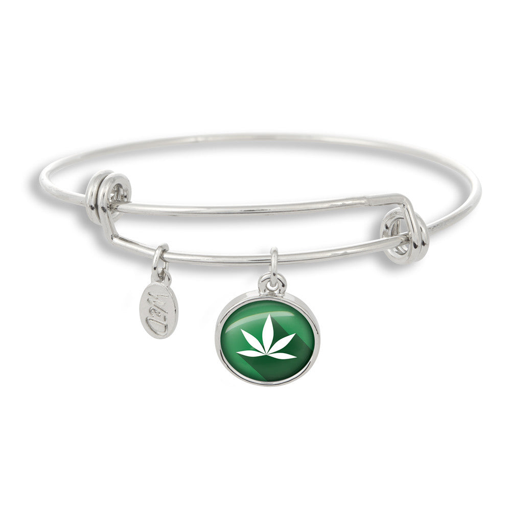 Cannabis Icon-O-Pop Collection Adjustable Bangle Bracelet (Forest Green Marijuana)