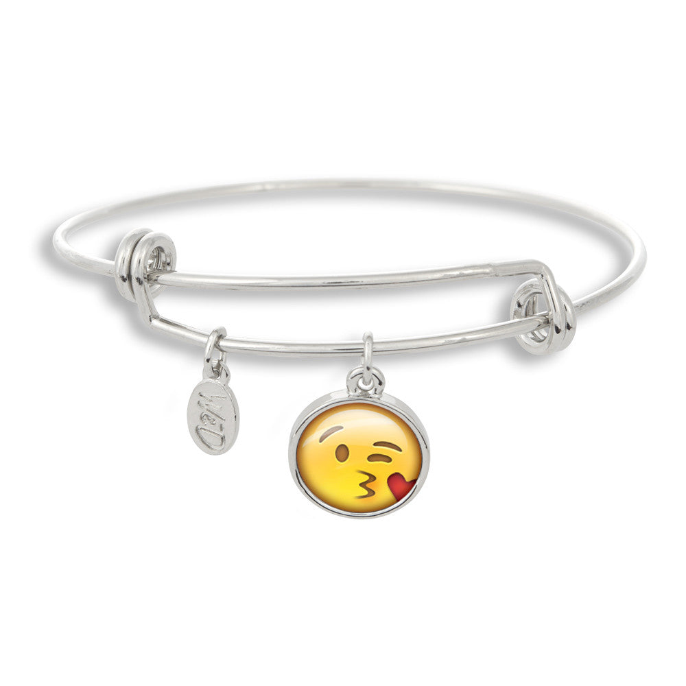 Handcrafted in USA Blow A Kiss Emoji Adjustable Bangle Charm Bracelet by Winky & Dutch