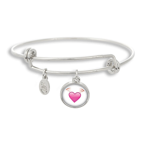 Emoji Beating Heart Adjustable Band Charm Bangle Bracelet - Handcrafted USA