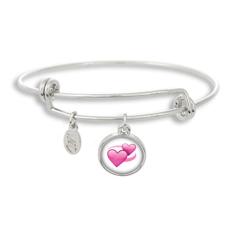 Emoji Revolving Hearts Adjustable Band Charm Bangle Bracelet - Handcrafted USA