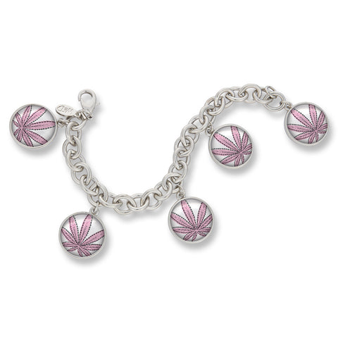 Cannabis Icon-O-Pop Collection Classic Charm Bracelet (Line Illustrated Puff-Pass Pink)