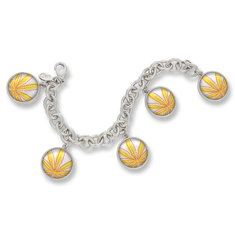 Cannabis Icon-O-Pop Collection Classic Charm Bracelet (Line Illustrated Mellow Yellow)