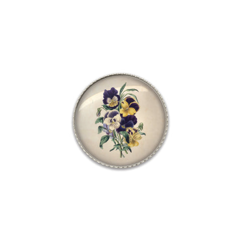 Machine Washable Vintage Style Pansies Sew On Button | Handcrafted USA