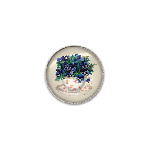 Machine Washable Vintage Style Violets Sew On Button | Handcrafted USA