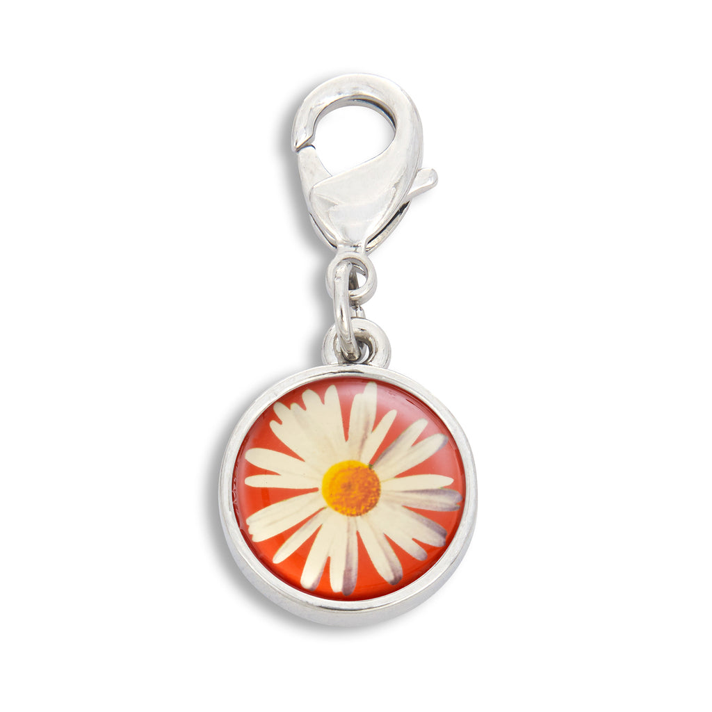Charm featuring Daisy with Red Background