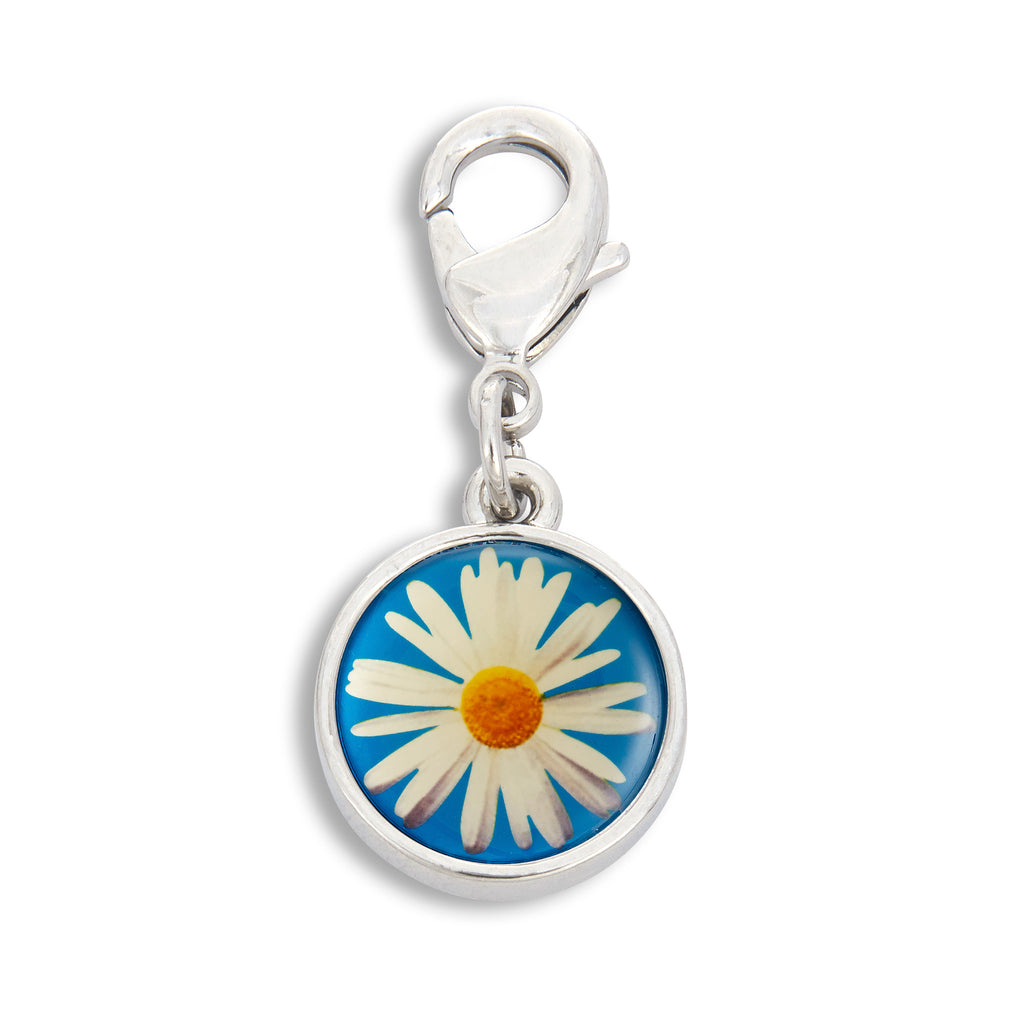 Charm featuring Daisy with Blue Background