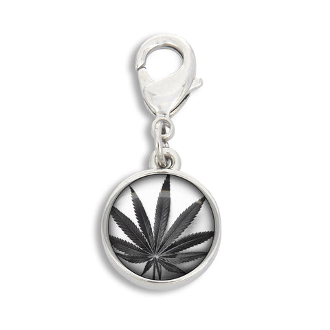 Illustrated Black Cannabis Leaf Charm