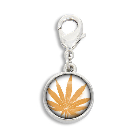 Illustrated Fire Yellow Cannabis Leaf Charm