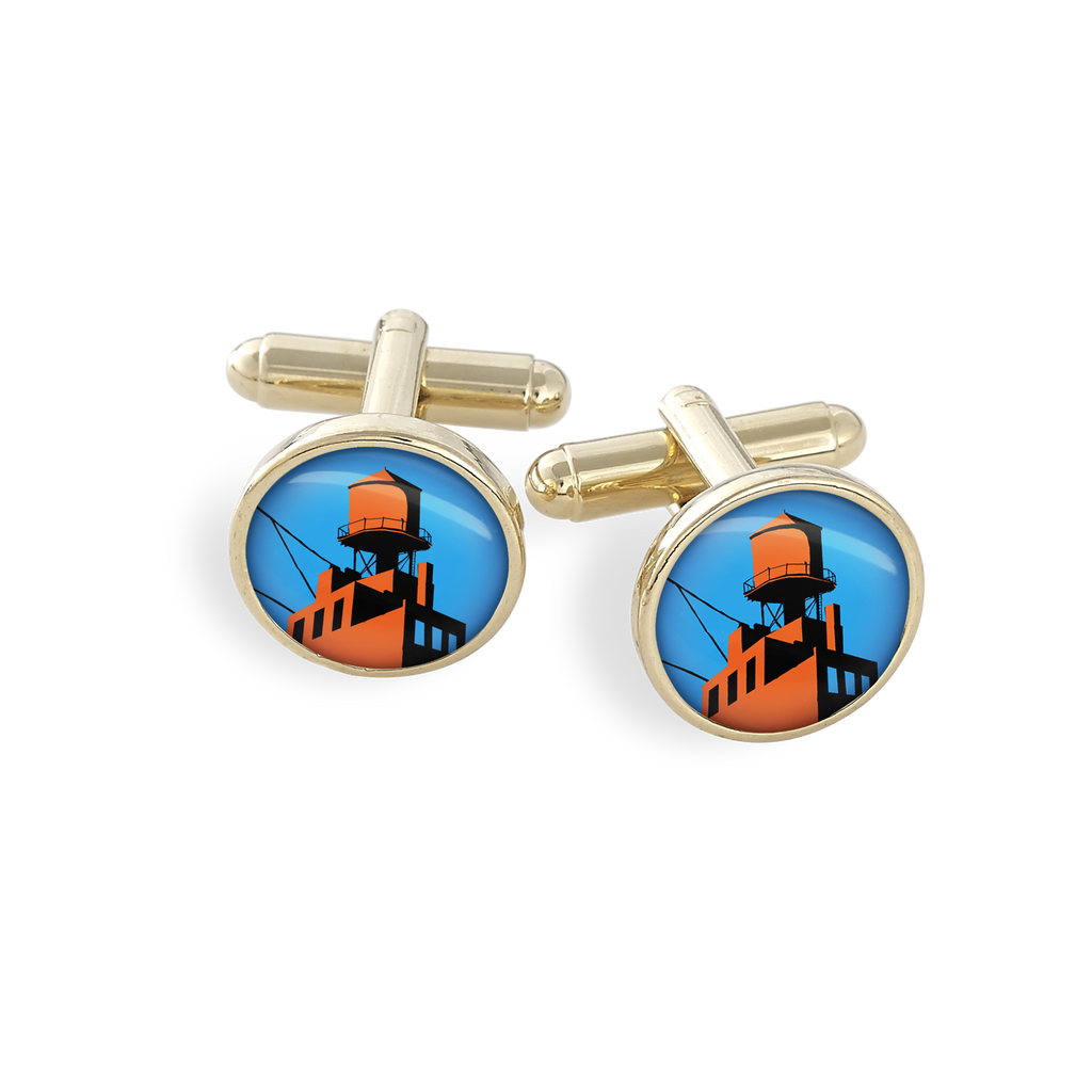 Hamilton Gold Cufflink Set featuring the Futurama New York Brooklyn Watertower
