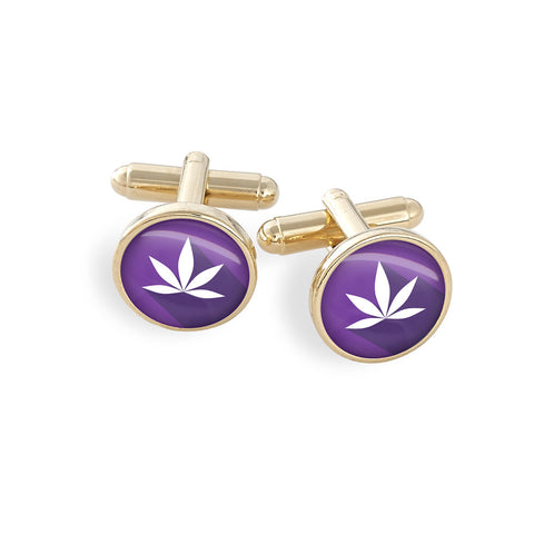 Hamilton Gold Cufflink Set featuring the Cannabis Icon-O-Pop Collection Artwork (Purple Haze Marijuana)