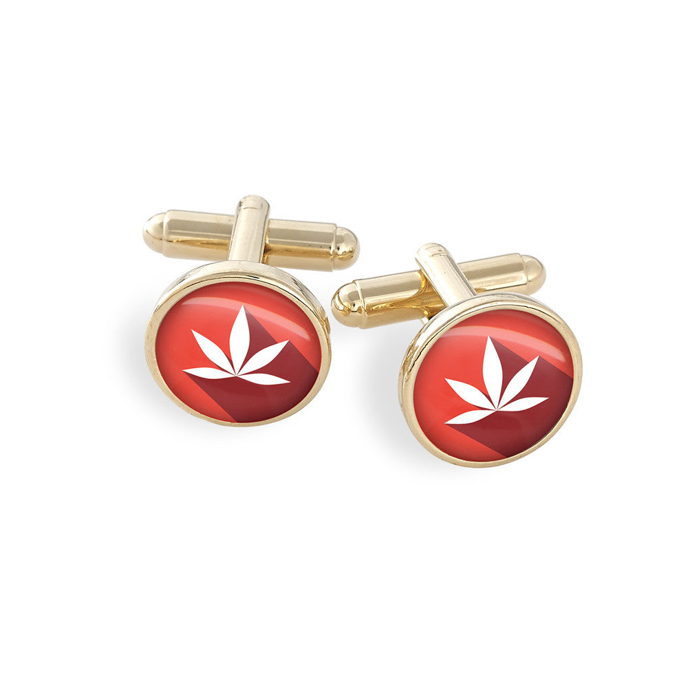 Hamilton Gold Cufflink Set featuring the Cannabis Icon-O-Pop Collection Artwork (Simple Red)