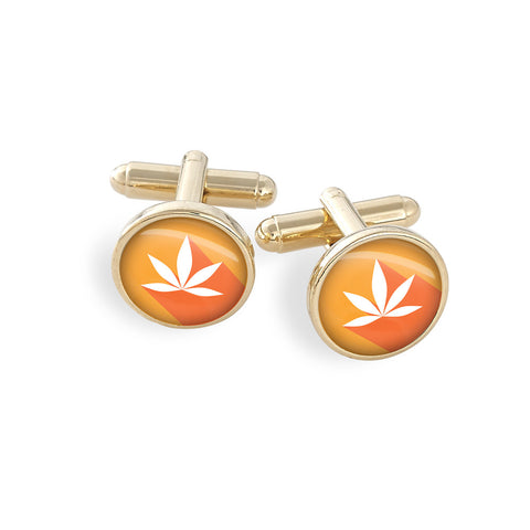 Hamilton Gold Cufflink Set featuring the Cannabis Icon-O-Pop Collection Artwork (MJ Mandarin)