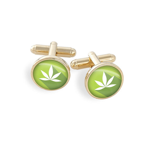 Hamilton Gold Cufflink Set featuring the Cannabis Icon-O-Pop Collection Artwork (Bright Lime)
