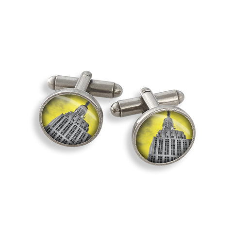 Pewter Cufflink Set featuring the Yellow Belly Empire State Building