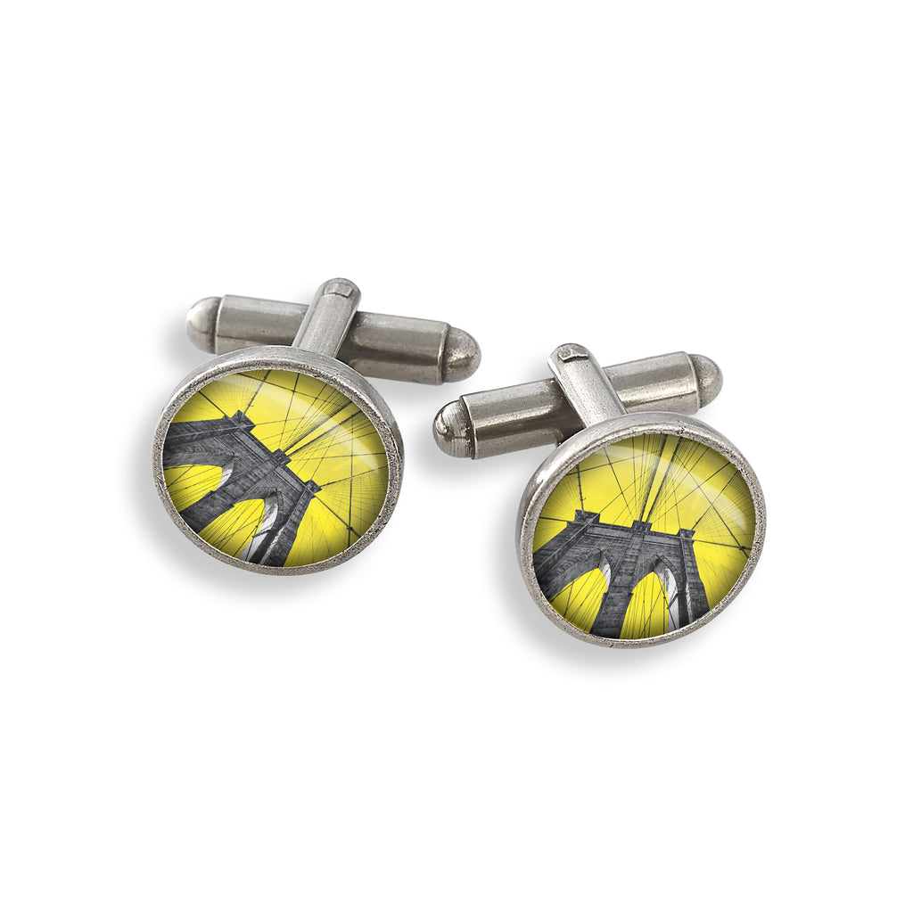 Pewter Cufflink Set featuring the Yellow Belly Brooklyn Bridge