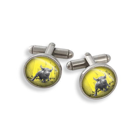 Pewter Cufflink Set featuring the Yellow Belly Charging Bull
