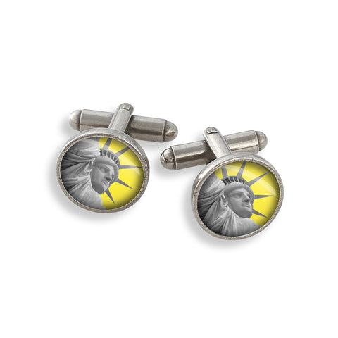 Pewter Cufflink Set featuring the Yellow Belly Statue of Liberty