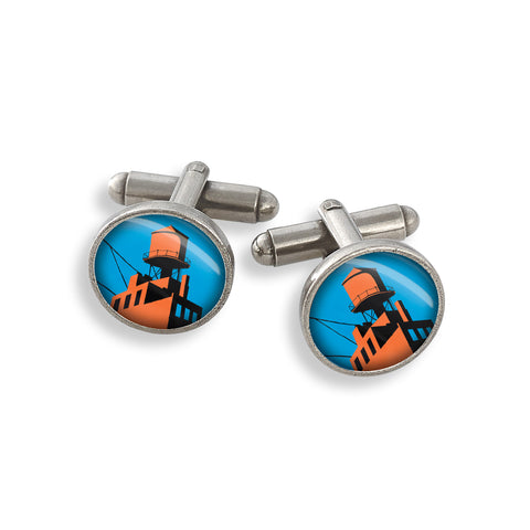 Pewter Cufflink Set featuring the Futurama New York Brooklyn Watertower