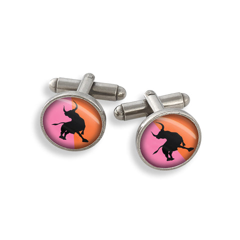 Pewter Cufflink Set featuring the Futurama New York Charging Bull